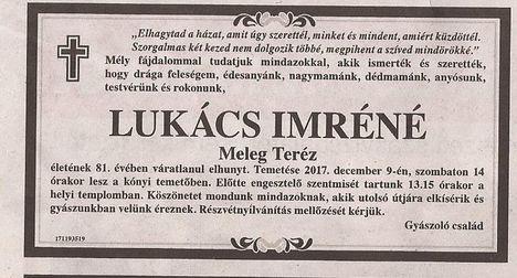 Lukács Imréné gyászjelentése