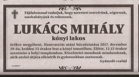 Lukács Mihály gyászjelentése