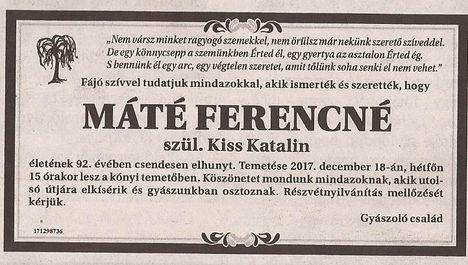 Máté Ferencné gyászjelentése