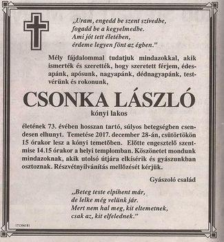 Csonka László gyászjelentése