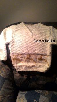 rénszarvasos fehér gyerek pulóver