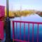 Mosoni-Duna folyó a kimlei közúti hídról az alvízi irányban nézve, Kimle, 2017. december 31.-én 2