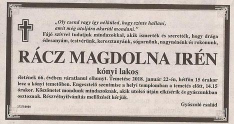 Rácz Magdolna gyászjelentése
