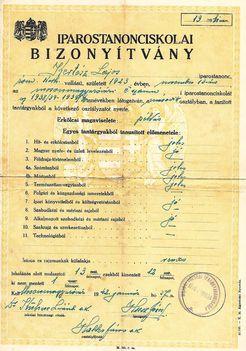 1942, Kertész Lajos Iparostanonci bizonyítvány