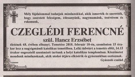 Czeglédi Ferencné gyászjelentése