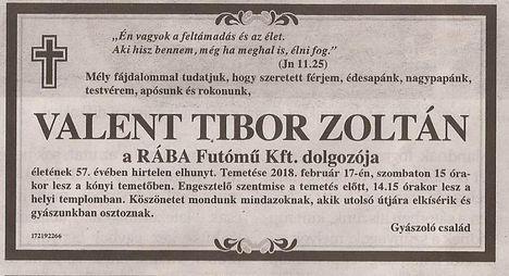Valent Tibor gyászjelentése