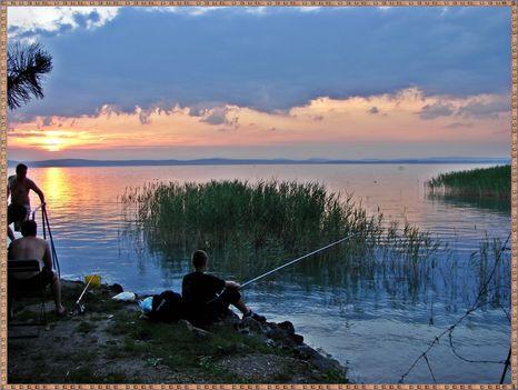 Balaton naplementéje, horgászokkal. 4
