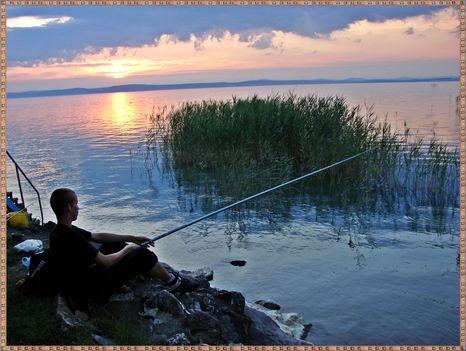 Balaton naplementéje, horgászokkal. 5
