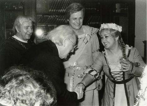Évaként az öltözőben Bordás Györggyel, Molnár Andrással és Wolfgang Wagnerrel