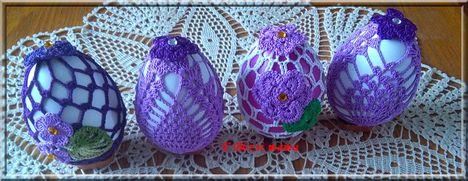 horgolt tojások