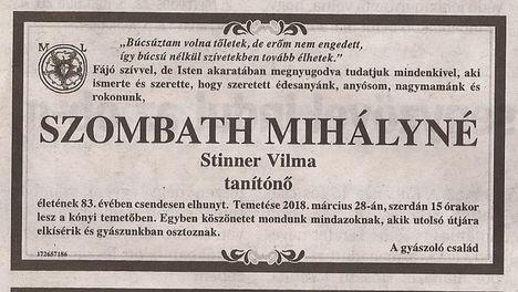 Szombath Mihályné gyászjelentése