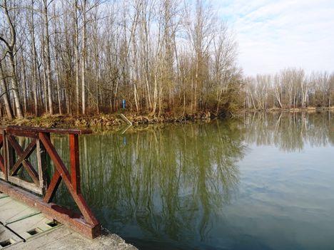 A Kőhídi vízszintszabályzó műtárgy felvizi oldala, Dunasziget 2018. január 22.-én 2