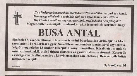 Busa Antal gyászjelentése