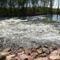 Sorjási bukó a hullámtéri vízpótló-rendszerben, Dunaremete 2018. április 19 .-én 2
