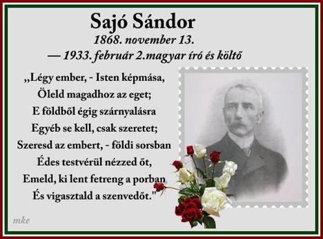85 éve,1933. 02. 02.Meghalt Sajó Sándor költő, tanár, drámaíró.