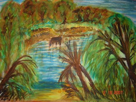 Horgásztó akvarell
