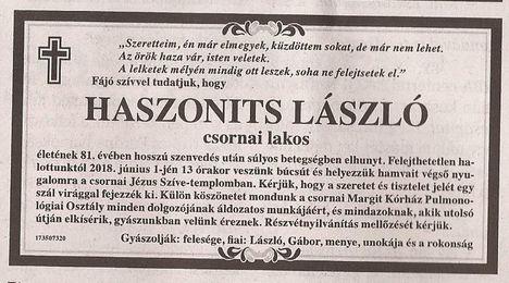 Haszonits László gyászjelentése