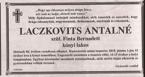 Laczkovits Antalné gyászjelentése