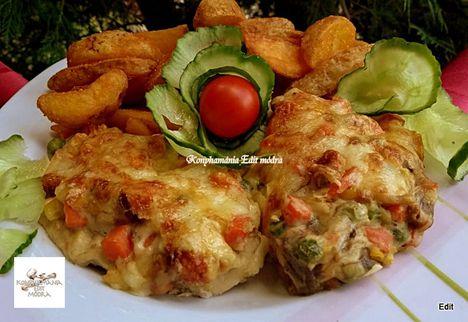 Tejszínes,sajtos-zöldséges csirke