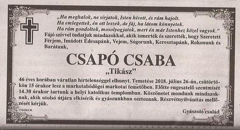 Csapó Csaba gyászjelentése