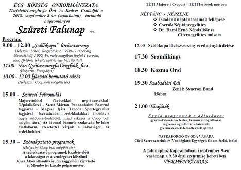 Szüreti Falunap 2018.09.08.