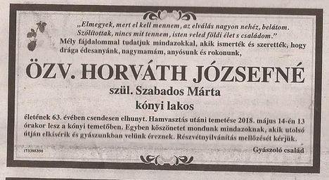 özv. Horváth Józsefné gyászjelentése