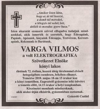 Varga Vilmos gyászjelentése