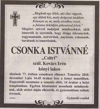Csonka Istvánné gyászjelentése