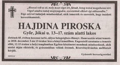 Hajdina Piroska gyászjelentése
