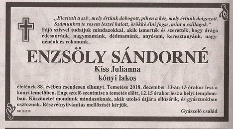 Enzsöly Sándorné  gyászjelentése