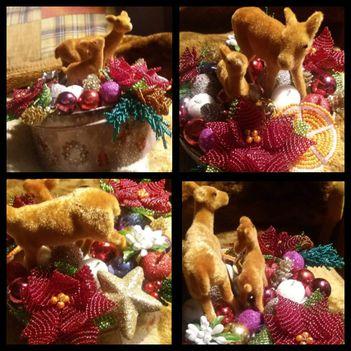 Karácsonyi asztali dísz fém dobozban