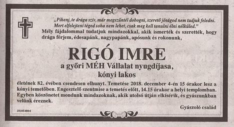 Rigó Imre gyászjelentése