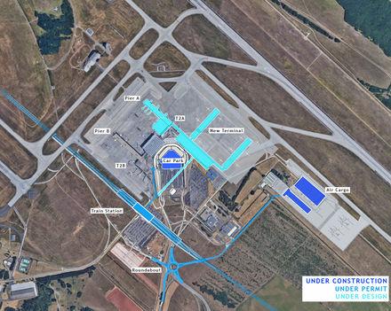A Ferihegyi repülőtér 2024-ben - felülnézet (terv)