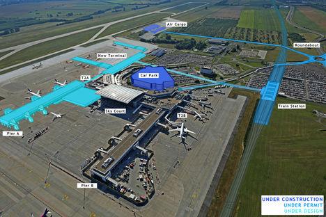 A Ferihegyi repülőtér 2024-ben - oldalnézet (terv)