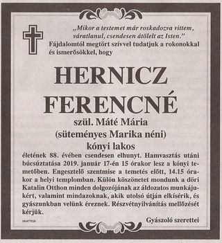 Hernicz Ferencné  gyászjelentése