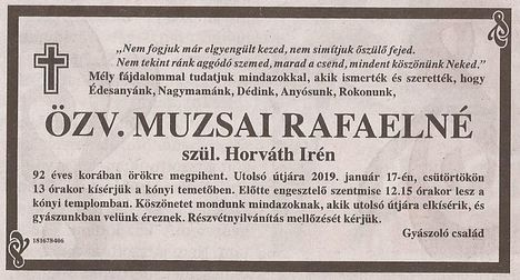 zv. Muzsai Ráfaelné gyászjelentése
