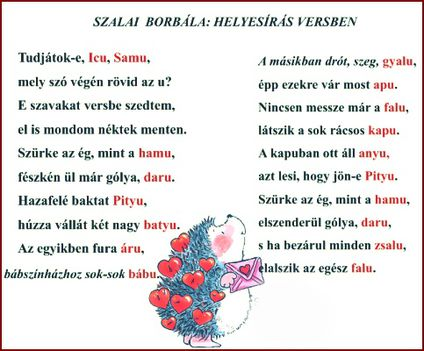 HELYESÍRÁS VERSBEN