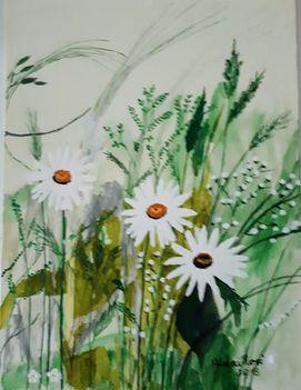 Tavaszi tarka réten. Dáma Lovag Erdős Anna verse:  Róza Ferencné Aczél festménye alapján/