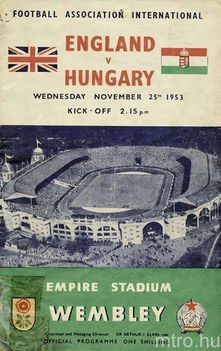 Az 1953. nov. 25-i angol-magyar meccs plakátja