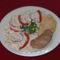Szűzpecsenye és csirkemell flekken lencse salátával