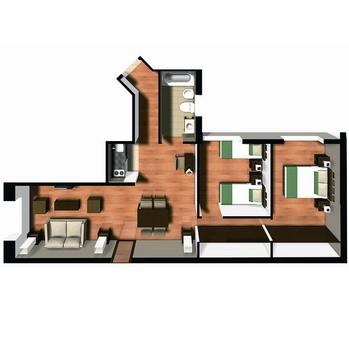 2 szobás lakásterv