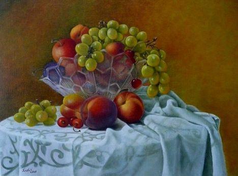 Kraft Ilona  Csendélet gyümölcsökkel, 2009
