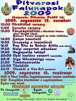 Pitvarosi Falunapok 2009 plakát