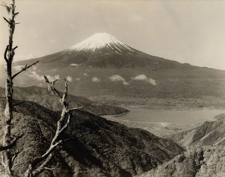Mount Fuji from the Heights Lake Hakone and the Town of Hakone
