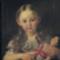 Német kislány babával, festmény