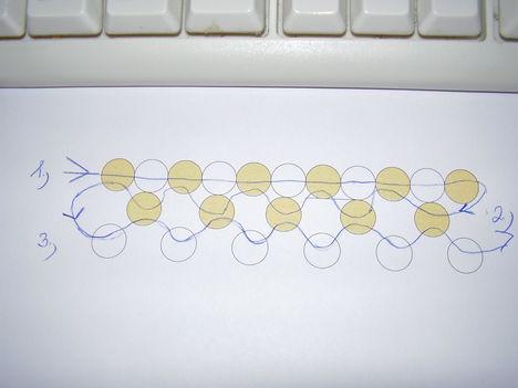 arany-fehér pepita nyaklánc minta