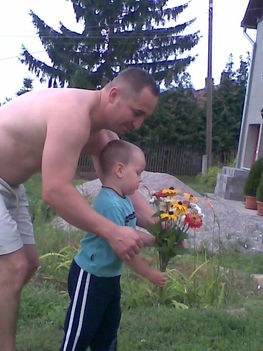 apa és fia virágot szed