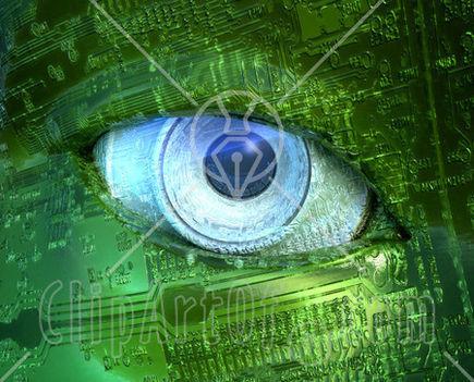 20575-Blue-Camera-Lens-Eyeball-In-A-Robot-Face-Made-Of-Green-Circuits-Poster-Art-Print