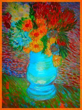 Csendélet, Van Gogh imitáció, olaj, farost