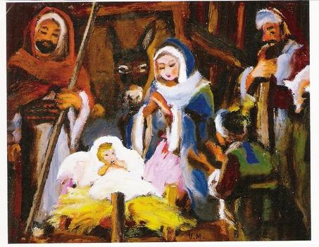 Jézus a jászolban, és Mária.